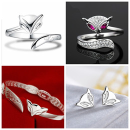 925 Sterling Silver plating Fox Ring Bracelet Earrings Rings love with Women Wedding Party Fashion crystal Rings Bracelet love open design on Sale