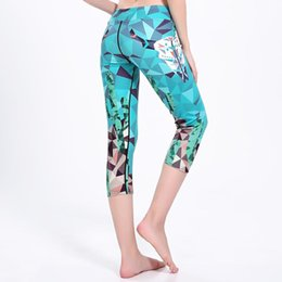 Discount women s yoga capris New High Quality Women Yoga Capris Pants Blue Geometric Printing Girls Summer Autumn Running Gym Fitness Pants 3 Pattern