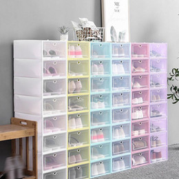 20pcs Chaussures Boîtes Ensemble de stockage pliable multicolore Plastique Clear Clear Home Shoor Coffret d'affichage de la pile en Solde