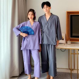 Wholesale kimono sleep resale online - New Japanese Style Kimono Pajamas Bathrobe Asian Fashion for Adult Homeware Sleep Summer Home Casual Fashion Suit Kawaii
