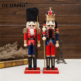 miniature christmas toys UK - 38cm Wooden Nutcracker Doll Soldier Miniature Figurines Vintage Handcraft Puppet toys New Year Christmas Ornaments Home Decor 201023