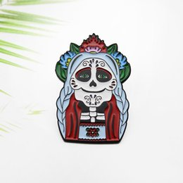 Wholesale metal death resale online - witch woman Enamel Pins Flower Head Rose Brooch Lapel Pins Love and Death Badges Jewelry for Friends zdl0904