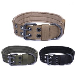 Discount army dog collars Large Dog Collar Army Green Double Row Adjustable Buckle Thickened Collar Strong Canvas Nylon Dog For Shepherd Dogs1