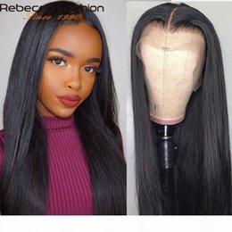 Wholesale rebecca online – design Rebecca x4 Lace Front Human Hair Wigs Brazilian Straight Human Hair Wigs Lace Frontal Wig Pre Plucked x4 Closure Wig