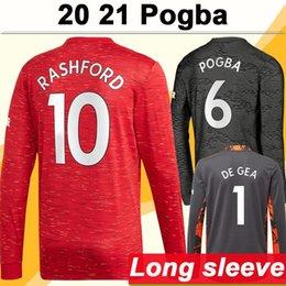 20 21 POGBA RASHFORD Mens Long Sleeve Soccer Jerseys LINGARD MATA MATIC MARTIAL MATIC CARRICK Home Away DE GEA Goalkeeper Football Shirt