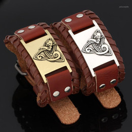 Discount cat bangles slavic cat pendant leather amulet bracelet -adjustable size 19-26 cm1