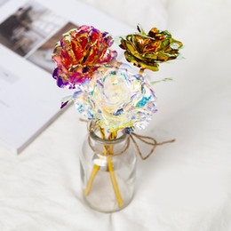 Wholesale roses forever for sale – custom 24k Gold Foil Plated Rose Creative Gifts Lasts Forever Rose For Lover s Wedding Christmas Day Gifts Home Decoration w