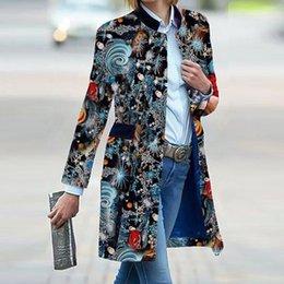 Wholesale thin vintage print jacket women resale online – Vintage Autumn Print Overcoat Women Elegant Stand Collar Long Jackets Office Lady Winter Warm Fashion Pattern Coats