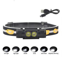 Wholesale Hot D10 D25 2000lumens XM-L2 LED Mini Headlamp 6-Mode USB Rechargeable Headlight Bicycle Flashlight