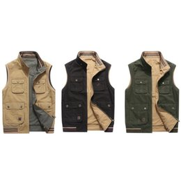 Wholesale Men's vest Solid color casual cotton jacket two-sided wearing autumn and winter warm fashion loose top