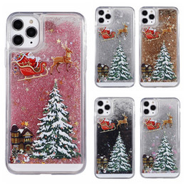 iphone xr cases Canada - Merry Christmas phone cases lovely deer tree fashion glittering flow sequins sand crystal cases for iphone 12 11 pro X XS max XR 6 7 8 plus