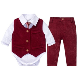 Wholesale gentleman vest for sale - Group buy Newborn Baby Clothes for Boys Wedding Suit White Romper Red Vest Pants Pieces Kids Little Gentleman Infant Suit