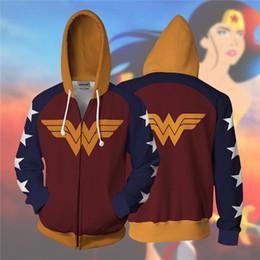 Wholesale superheroes woman costume for sale – halloween Movie Superhero Wonder Woman Superman Batman Men Sweatshirts d Print Hoodies Cosplay Costume Jackets Dropshipping C1118