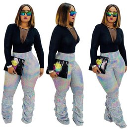 Wholesale sequins pants for sale - Group buy Gothic Glitter Sequin Pants Women High Waist Pleated Flare Pants Bell Bottom Ladies Shiny Party Long Trousers Pantalones Mujer