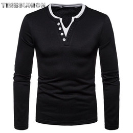 solid color long sleeve t shirts Canada - mens fashion 2020 collar mens t shirts top quality long sleeves Solid color cotton t-shirt homme