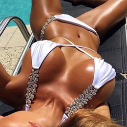 Wholesale summer bikinis crystals resale online - Diamond Crystal Bikini New Sexy Swimwear Women Push Up Swimsuit Solid Bathing Suits Summer Beach Wear Swimming Suit Biquini