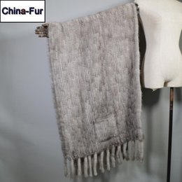 natural scarves 2020 - Long Style Real Natural Scarf Lady Winter Warm Real Shawl Tassel Fashion Knit Scarves discount natural scarves