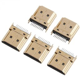 gold tone connectors Australia - 5Pcs Packs Gold Tone HDMI Male Jack Connectors 1.6mm Pitch 19 Pins PCB Wholesale Free Shipping