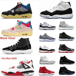Wholesale 11 11s Black Clear Basketball Shoes 2020 Union LA x 4S Guava Ice 11S Bred Space Jam Concord 45 4s Black Cat Sneaker
