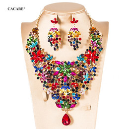 asian jewellery NZ - Jewelery Set Necklace Earrings Sets CHEAP Maxi Women Vintage Big Pendent Jewellery Statement Collares F0176 Rhinestones 5 Colors