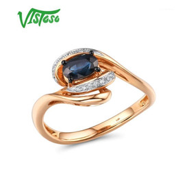 blue diamond cluster ring 2021 - VISTOSO Pure 14K 585 Rose Gold Ring For Women Ring shining Diamond Blue Sapphire Wedding Engagement Elegant Fine Jewelry