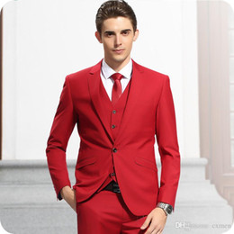 Wholesale italian design men suit resale online - Custom Italian Style Red Men Suits Groom Wear Wedding Tuxedos One Button Male Business Blazer Piece Latest Coat Pant Designs Costume Homme