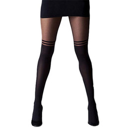 Wholesale black cat pantyhose for sale - Group buy 4Styles Black Women Temptation Sheer Mock Suspender Tights Cat Pantyhose Stockings Cool Mock Over The Knee Sheer Tights