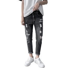 boys jeans sizes UK - Summer Autumn Men's Thin Jeans Ripped Casual Slim Ankle Length Pants Students Personality Grey Pencil Pants for Boys 27-36 Size