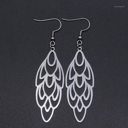 unique peacock NZ - 100% Stainless Steel Fashion Geometric Peacock Feather Drop Earring for Women Wholesale Unique Statement Jewelry Earrings1