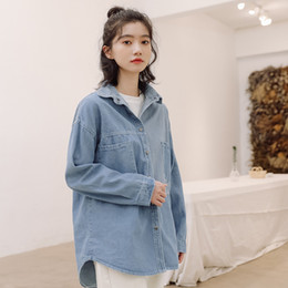 Wholesale korean casual tops design for sale – plus size Autumn new Korean splicing irregular minority design casual versatile Lapel long sleeve Denim Shirt Top Women