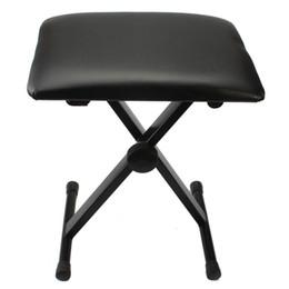Venta al por mayor de Taburete de piano ajustable piano taburete negro piano teclado banco de cuero acolchado asiento asiento plegable silla