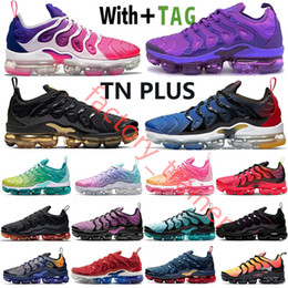Wholesale lemon top for sale - Group buy 2021 Top Quality Cushion Tn Plus Black Laser Crimson Mens Running Shoes Gradients Blue Lemon Lime Coquettish Purple Triple White Women Sneakers Trainers Size