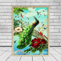 diy peacock home decor UK - 3d Diy Diamond Painting Cross Stitch Kit Diamond Embroidery Home Decor Peacock With Flower Mosaic Pattern Picture Painting