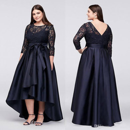 Wholesale plus size low neck shirts online – Black Plus Size High Low Formal Dresses With Half Sleeves Sheer Jewel Neck Lace Evening Gowns A Line Cheap Short Prom Dress