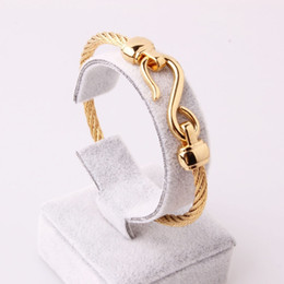 gold stainless steel cuff bracelet NZ - Popular 316L Stainless Steel Gold Tone Simple Wire Rope Chain Womens Mens Unisexs Cuff Bangle Fashion Bracelet Hotsale Jewelry