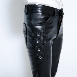 Wholesale leather men pants for sale - Group buy 2021 young men with thick leather pants cultivate one s morality foot trousers fashion pu leather pants