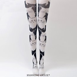 Wholesale black cat pantyhose resale online - spring cute white cat with black printed women new pantyhose cartoon