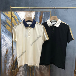 Wholesale Europe mens Stripe splicing t shirt High Quality screw Cotton patchwork POLO letter t shirts designer Casual tops t-shirt tee
