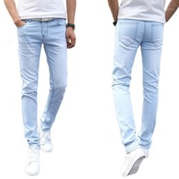 ingrosso pantaloni stretti di nuovo stile-2020 Band New Fashion Jeans Thin Light Light Uomo Casual Summer Style Jeans Skinny Jeans Pantaloni Tight Pants Solid Colors1