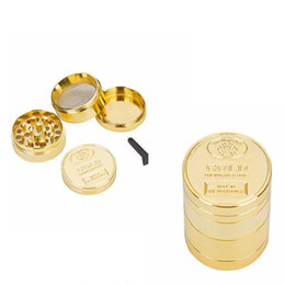Wholesale golden coins resale online - Golden Metal Grinder New pattern with layers of gold coin pattern smoking accessory Manual smoke grinder WY991