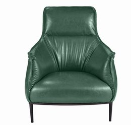 modern leather living room furniture UK - Nordic modern minimalist tiger chair leather single person sofa luxury high back leisure chair living room lazy leather chair