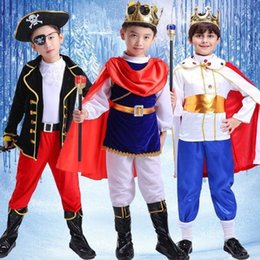 Schildren's Fairy Tale Character Boy Pirate King Papel Play Prince Traje Mostra Terno