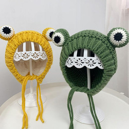 adult frog hat Canada - Winter Cute Women Frog Hat Crochet Knitted Hat Costume Beanie Hats Cap Women Gift Hip-hop Cap Party