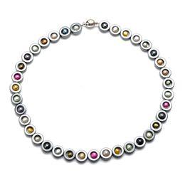 Multicolor Pearl Naszyjnik Czarny Hematyt Zroszony Chokers 18 cali z dobrej jakości Gładkie okrągłe zapięcie magnetyczne