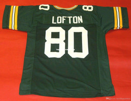 Barato Retro # 80 James Lofton Custom Mitchell Ness Jersey Mens Verde Costura Top S-5XL, 6XL Jerseys de futebol em Promoiio