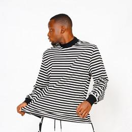 Wholesale striped shirts online – 2020 Hip Hop Fear of God Fog Striped Loose Tee Skateboard Cool Tshirt FOG Men Women Cotton Long Sleeve Casual T Shirt