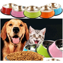stainless steel bowls UK - 2020 Dog Bowls Stainless Steel Puppy Dog Feeder Feeding Food Water Dish Bowl Pet Dogs Cat New Dog Bow jllzwS bdesybag