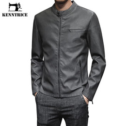 Wholesale mens yellow leather jacket resale online - KENNTRICE New Mens Leather Jacket Solid Color Biker Jacket Green Yellow Fashion Outerwear Luxury Men Clothing