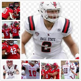 estados de pelota al por mayor-Personalizado College Ball State Drew Pitt Caleb Huntley Miller Antwan Davis Riley Neal Justin Hall Jerseys de fútbol