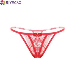 bikini polyester panties bows 2021 - Sexy Lace Thong Low Waist Transparent Panties Women Hollow out Breathable G-string Bow Underwear Lingerie T-back Bikini Panty1